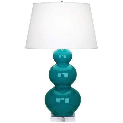 Furbish Studio - Laguna Gourd Lamp in Glossy Peacock Blue with clear lucite base