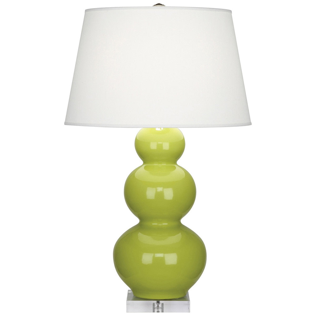 Furbish Studio - Laguna Gourd Lamp with Apple Green Base and White Shade with clear lucite foot