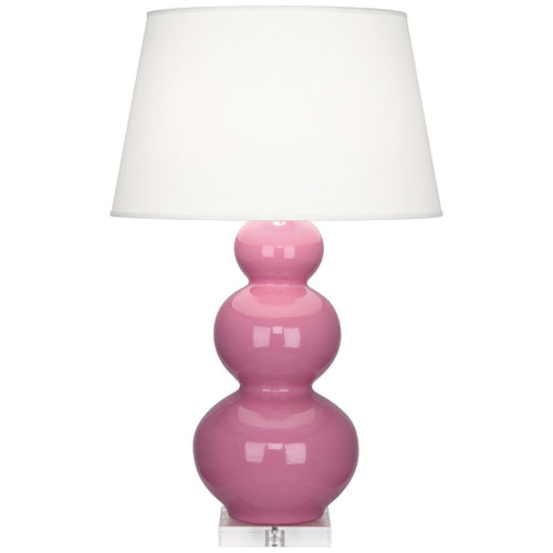 Furbish Studio - Laguna Gourd Lamp in Glossy Pink with clear lucite base