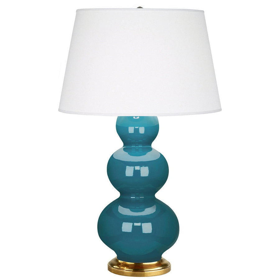 Furbish Studio - Laguna Gourd Lamp in Glossy Peacock Blue with brass base