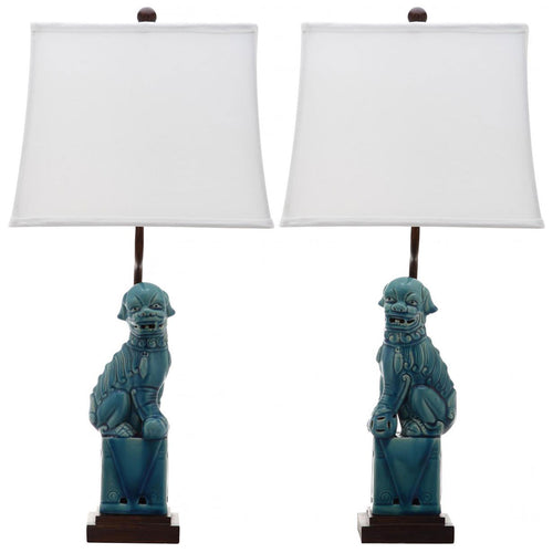 Pair of Foo Dog Lamps - Turquoise