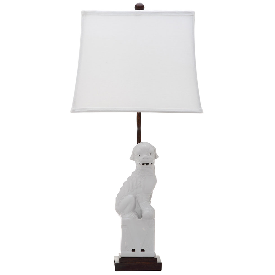 Pair of Foo Dog Lamps - White