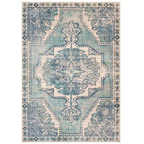 Furbish Studio - blue and ivory Whitley Indoor/Outdoor Kilim Rug