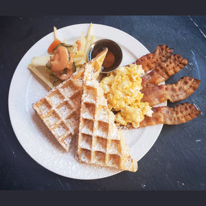 Melody waffles with strip bacon and eggs - Le Petit Dejeuner