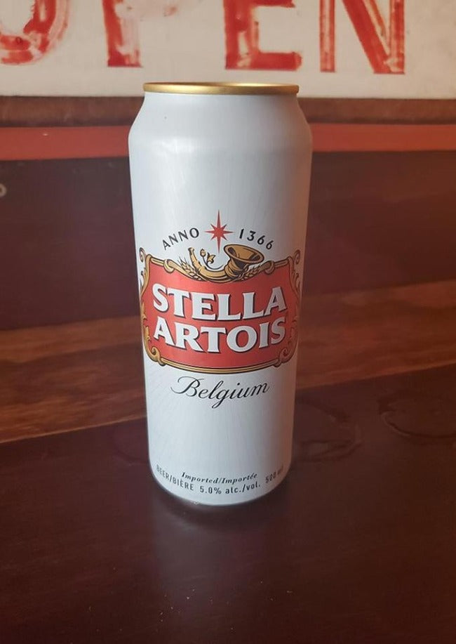 Tall can of Stella Artois - Le Petit Dejeuner