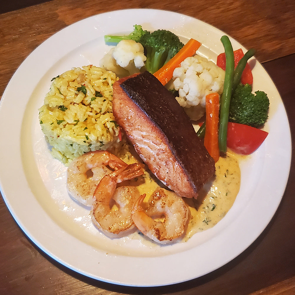 Seared Salmon & Shrimp with Parsley Supreme Sauce