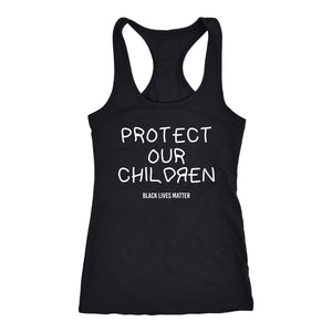 Protect Our Children Ladies Racerback Tank Top T-shirt teelaunch Next Level Racerback Tank Black XS