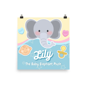 Lily the Baby Elephant Plush™️ Official Hanging Matte Poster