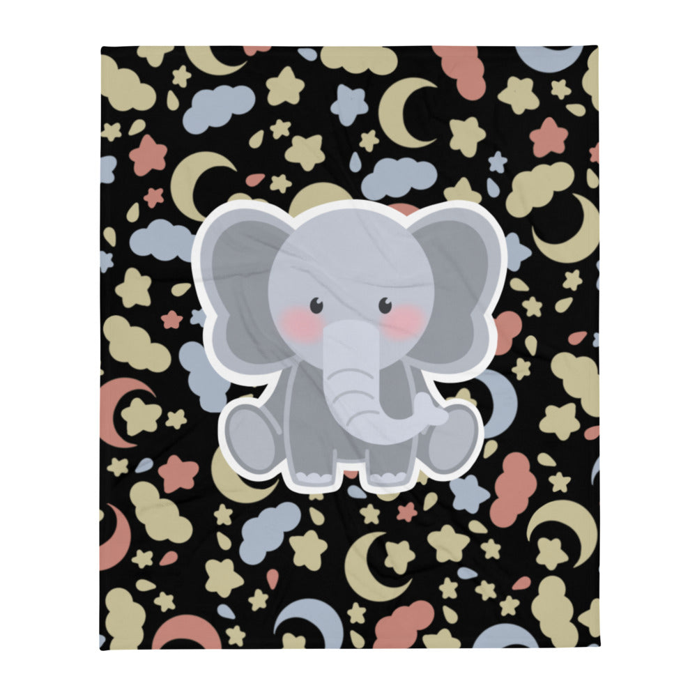 Lily the Baby Elephant Plush™️ Good Night Throw Blanket (Night Black)