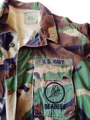 Navy SeaBees Woodland Camo Button-Up