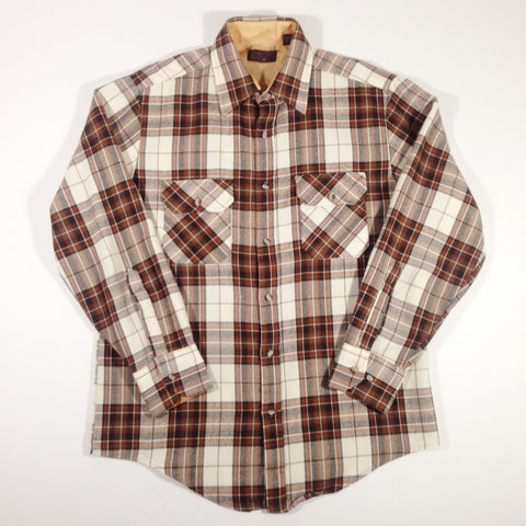 Brown Plaid Flannel Button-Up