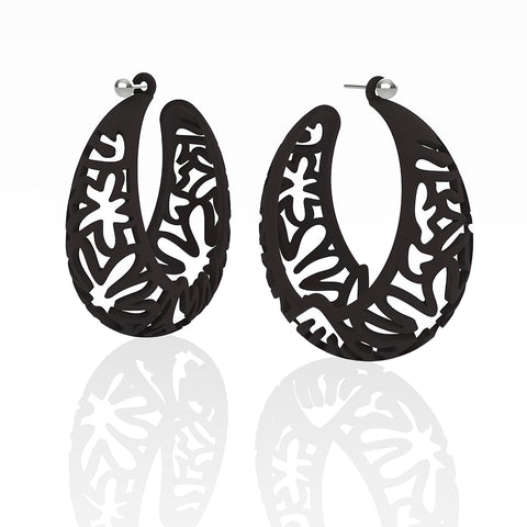MATISSE.cutout   CORAL.black  EXTRA LARGE hoops