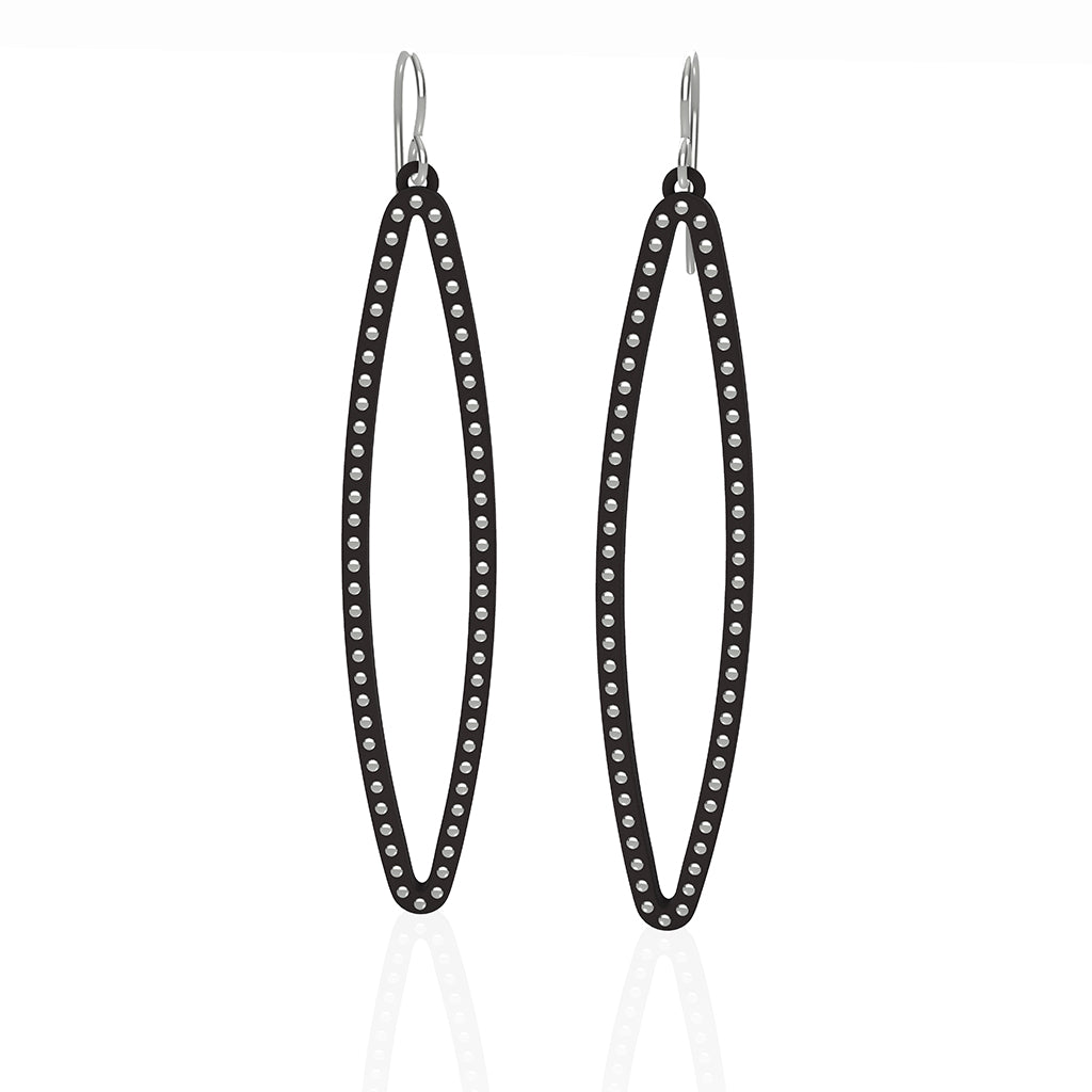 OVAL earrings  SIZE:  LARGE  ( 2.75 inches long)  with  sterling silver  studs along shape  COLOR: black  MATERIAL: 3D printed Nylon  ARTIST: Ree Gallagher