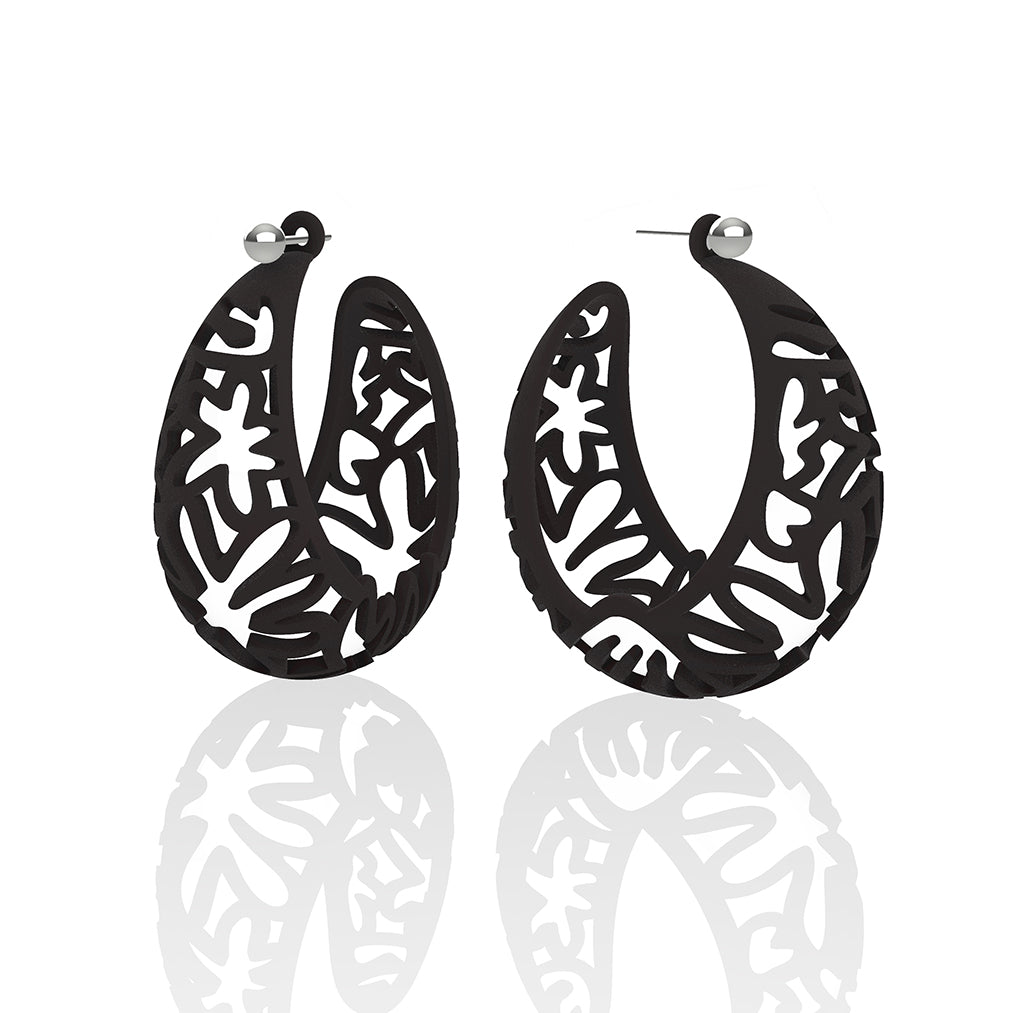 MATISSE inspired BLACK  CORAL CUTOUT HOOP earrings.  1.625 inch diameter.  Material:  Nylon   Posts:  sterling or 14/20 goldfill