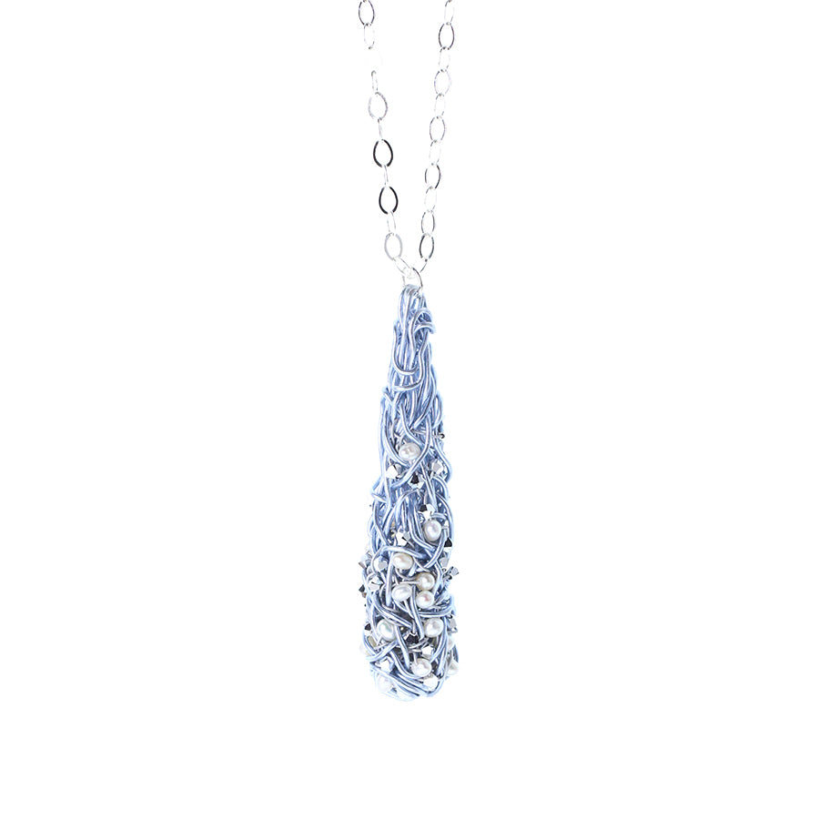 "COCOON.necklace:  29"" SILVERY.BLUE w.silver+pearls"