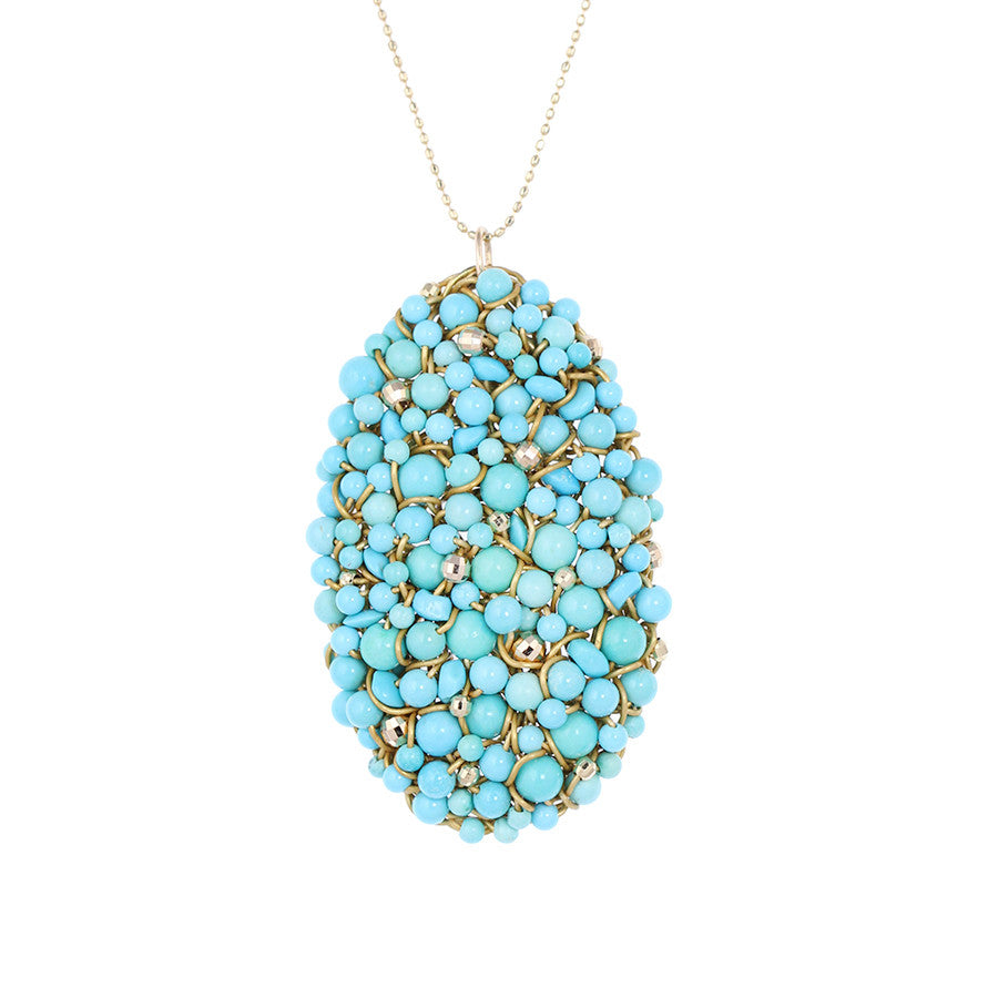 DISC.series  OVAL.pendant:  turquoise.14k