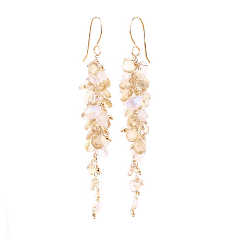 HEIRLOOM.series:  GRAPEVINE.earrings of champagne quartz, moonstones, 14k