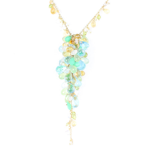 HEIRLOOM.series:  GRAPEVINE.necklace of blue topaz, prehnite, chrysoprase, citrine, moonstones, 14k