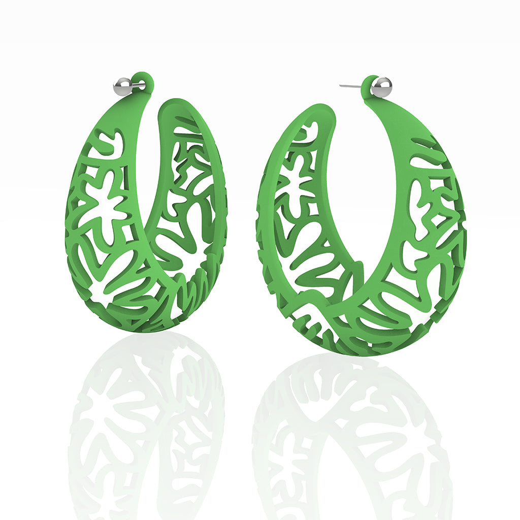 MATISSE inspired CORAL CUTOUT HOOP earrings. COLOR:  grass green,  SIZES:  XL  2  inch diameter.  MATERIAL:   Nylon   Posts:  sterling or 14/20 goldfill