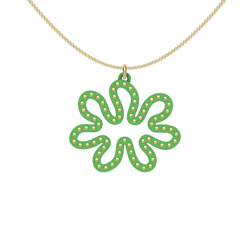 MATISSE.cutout  CORAL pendant  STYLE:  3 , oriented horizontally with 14/20  goldfill studs along shape  COLOR:  grass  green    MATERIAL:  3D printed Nylon  ARTIST:  Ree Gallagher, USA