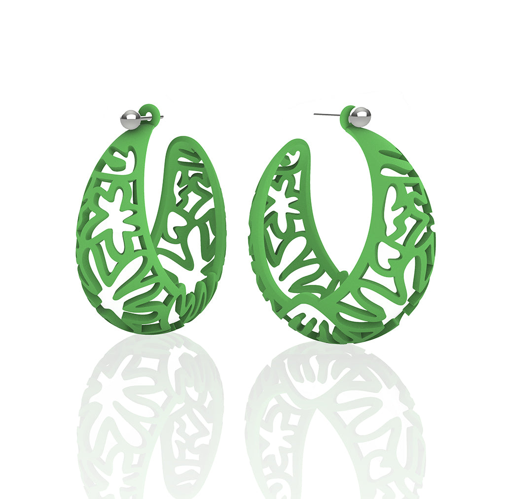 MATISSE inspired GRASS GREEN CORAL CUTOUT HOOP earrings.  1.625 inch diameter.  Material:  Nylon   Posts:  sterling or 14/20 goldfill
