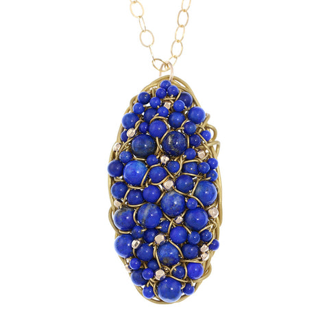 DISC.series:  OVAL.pendant:  LAPIS.14kt goldfill