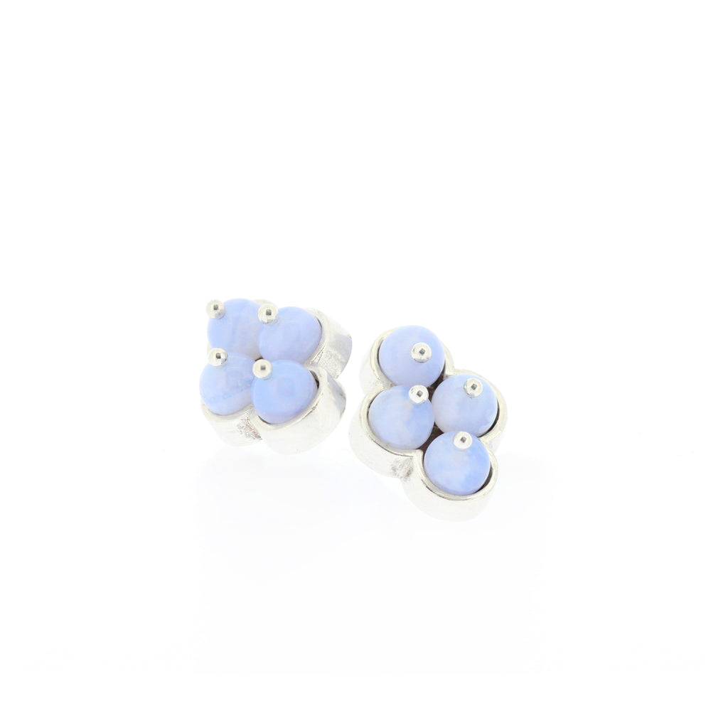 MOSAIC.earrings:  4 cross: Chalcedony