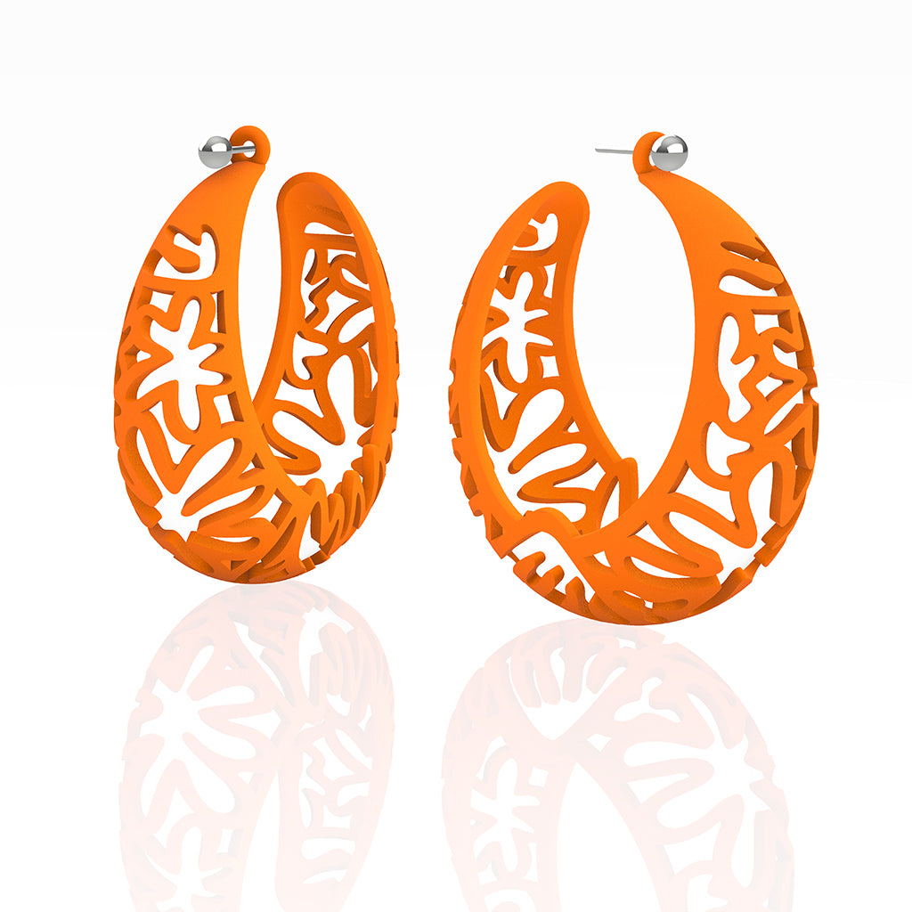 MATISSE inspired CORAL CUTOUT HOOP earrings. COLOR:  orange,  SIZES:  XL  2  inch diameter.  MATERIAL:   Nylon   Posts:  sterling or 14/20 goldfill