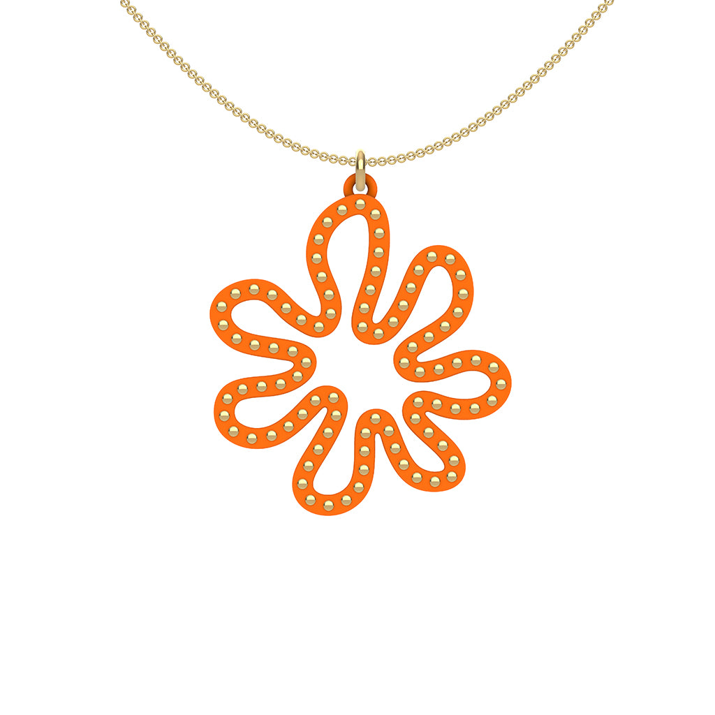 MATISSE.cutout  CORAL pendant  STYLE:  2  with 14/20 goldfill studs along shape  COLOR:  orange     MATERIAL:  3D printed Nylon  ARTIST:  Ree Gallagher, USA