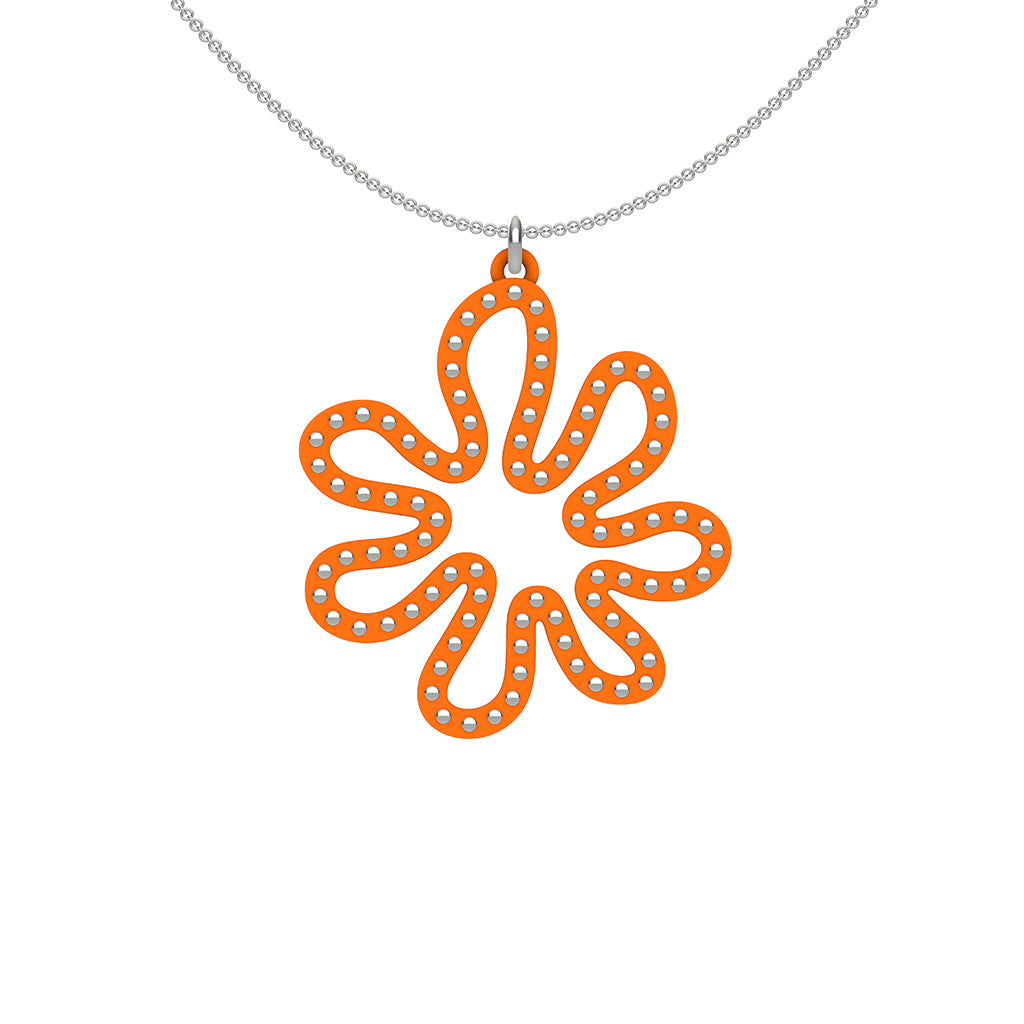 MATISSE.cutout  CORAL pendant  STYLE:  2  with sterling silver  studs along shape  COLOR:  orange     MATERIAL:  3D printed Nylon  ARTIST:  Ree Gallagher, USA