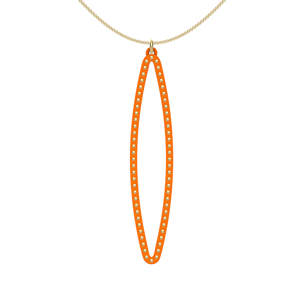 OVAL pendant  LARGE  ( 2.75 inches long)  with  14/20  Goldfill  studs along shape  COLOR: orange  MATERIAL: 3D printed Nylon  ARTIST: Ree Gallagher, USA