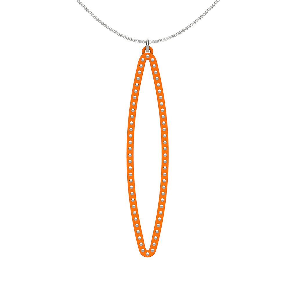 OVAL pendant  LARGE  ( 2.75 inches long)  with  sterling silver  studs along shape  COLOR: orange  MATERIAL: 3D printed Nylon  ARTIST: Ree Gallagher, USA