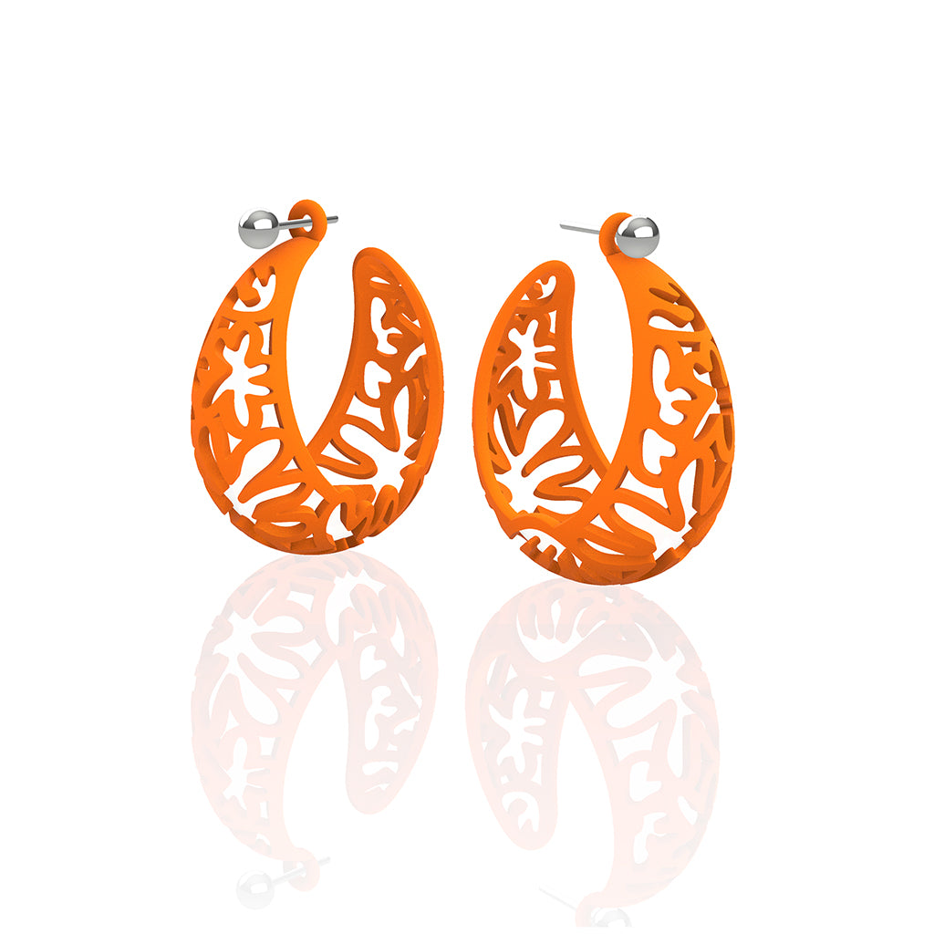 MATISSE inspired  ORANGE,  CORAL CUTOUT HOOP earrings.  SIZE:  MED, 1.25 inch diameter.  Material:  Nylon   Posts:  sterling or 14/20 goldfill, ARTIST:  Ree Gallagher