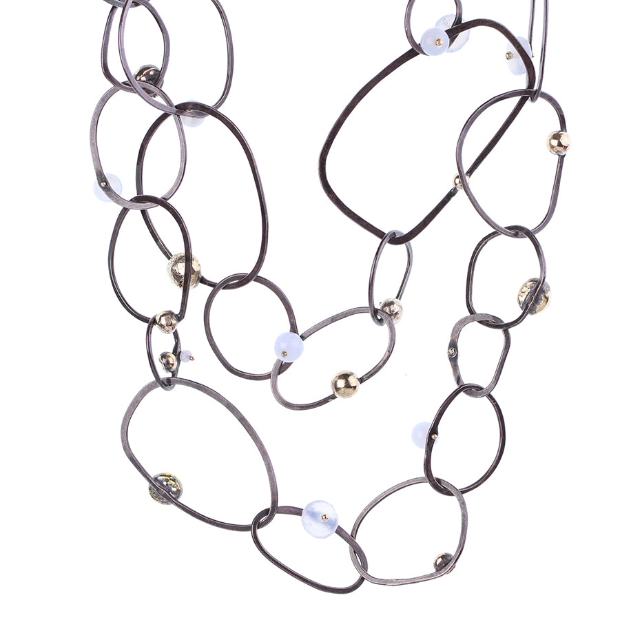 ORBIT:  oxidized.SS with Chalcedony and gold pebbles:  29.5""