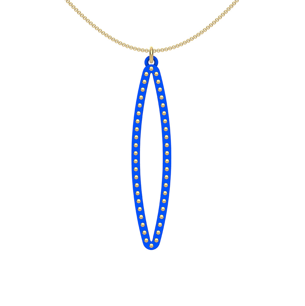 OVAL pendant  MEDIUM ( 2inches long)  with  14/20  goldfill  studs along shape  COLOR: royal blue  MATERIAL: 3D printed Nylon  ARTIST: Ree Gallagher, USA
