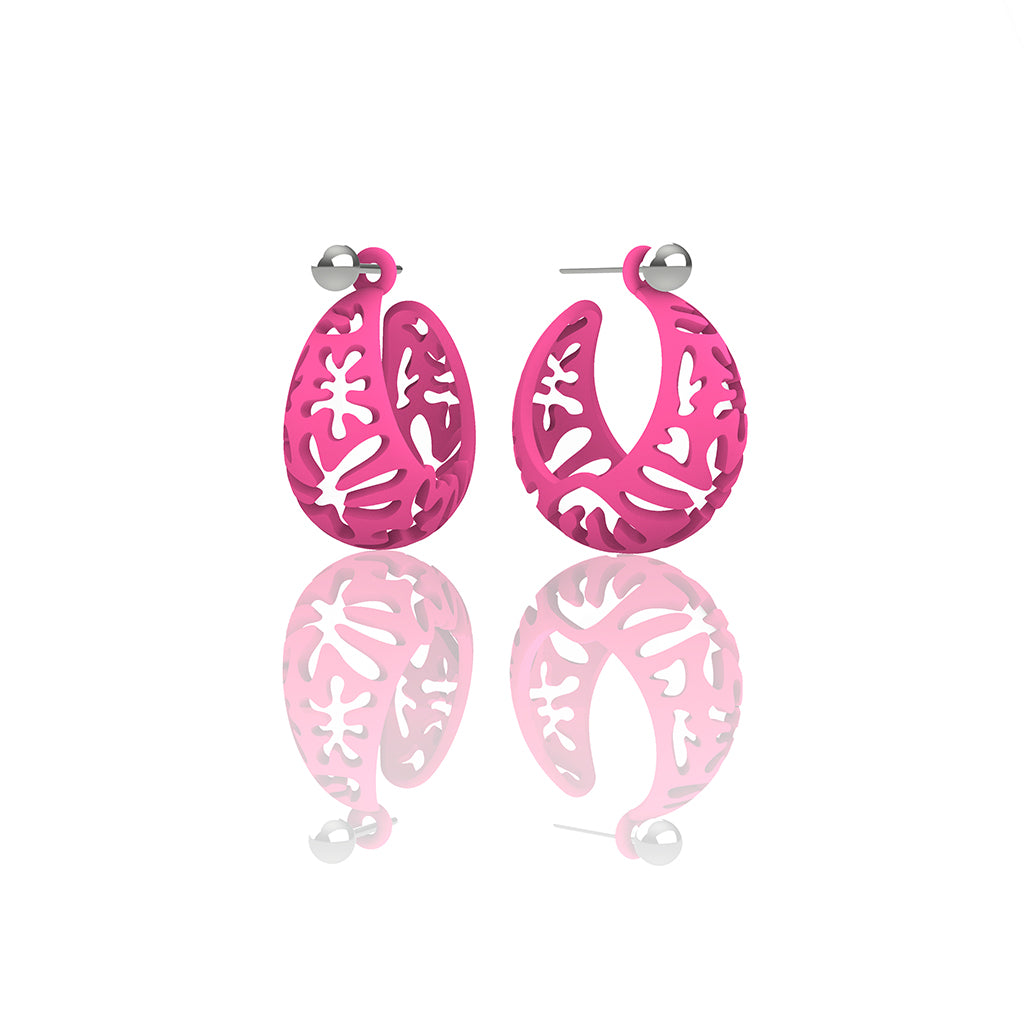 MATISSE inspired  pink  CORAL CUTOUT HOOP earrings.  SIZE:  SMALL, 0.75 inch or 22mm diameter.  Material:  Nylon   Posts:  sterling or 14/20 goldfill