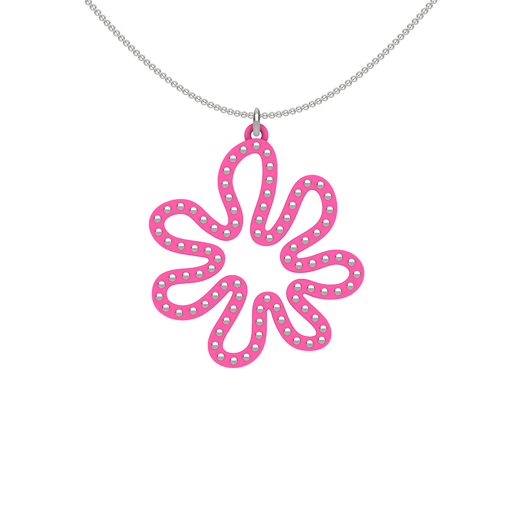 MATISSE.cutout  CORAL pendant  STYLE:  2  with sterling silver studs along shape  COLOR:  hot pink    MATERIAL:  3D printed Nylon  ARTIST:  Ree Gallagher, USA