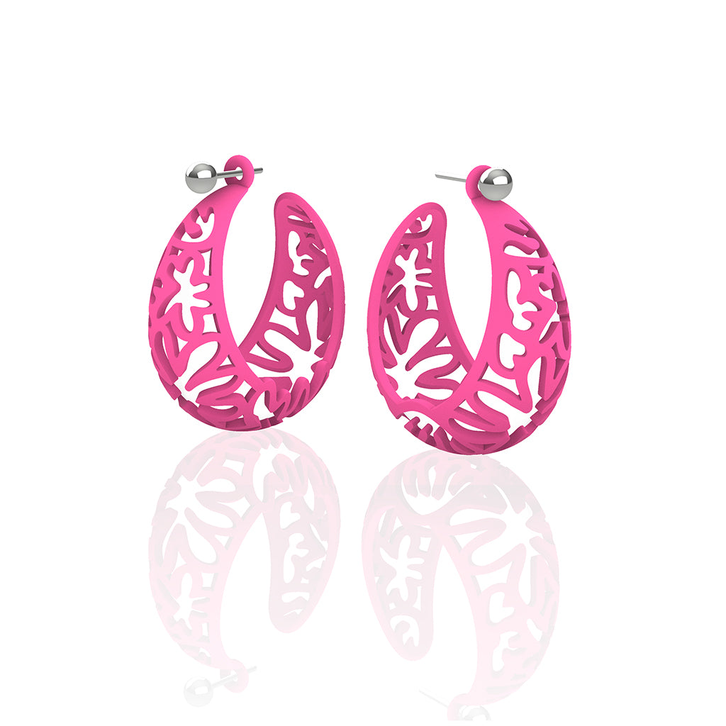 MATISSE inspired  PINK  CORAL CUTOUT HOOP earrings.  SIZE:  MED, 1.25 inch diameter.  Material:  Nylon   Posts:  sterling or 14/20 goldfill, ARTIST:  Ree Gallagher