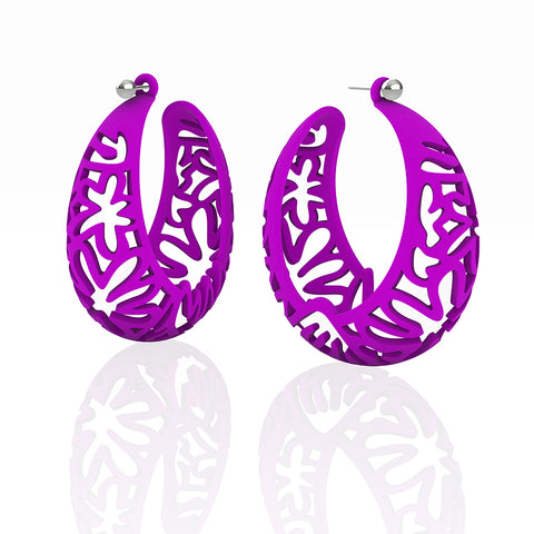 MATISSE.cutout   CORAL.purple  EXTRA LARGE hoops