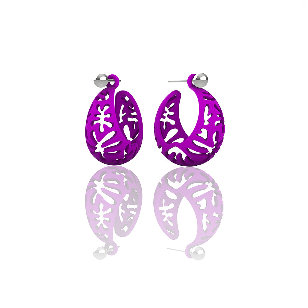 MATISSE inspired  purple,  CORAL CUTOUT HOOP earrings.  SIZE:  SMALL, 0.75 inch or 22mm diameter.  Material:  3D printed Nylon   Posts:  sterling or 14/20 goldfill, Artist:  Ree Gallagher