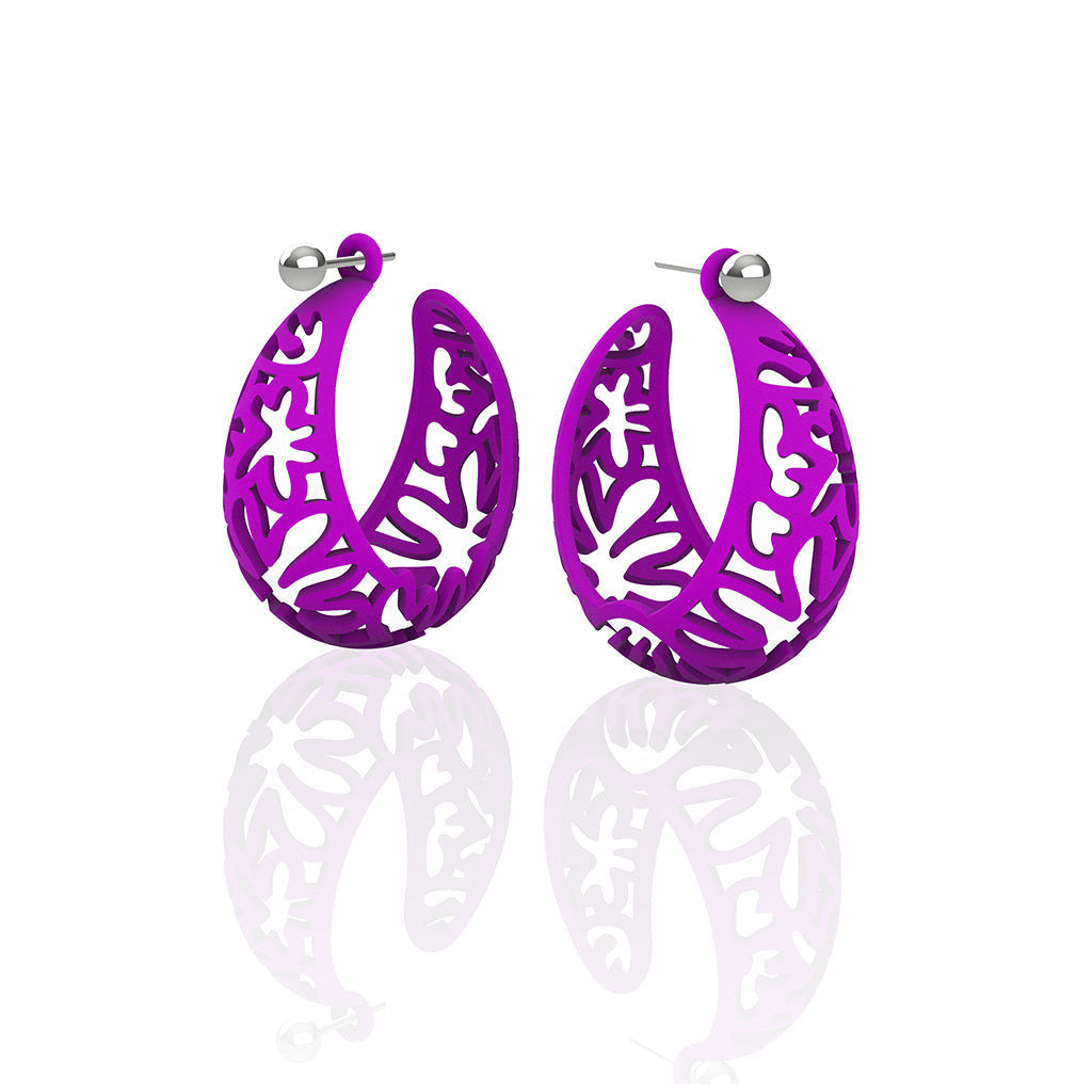 MATISSE inspired  PURPLE,  CORAL CUTOUT HOOP earrings.  SIZE:  MED, 1.25 inch diameter.  Material:  Nylon   Posts:  sterling or 14/20 goldfill, ARTIST:  Ree Gallagher
