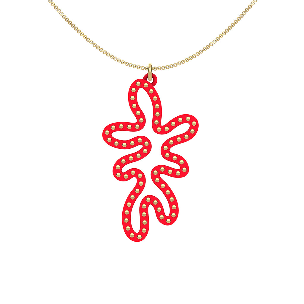 MATISSE.cutout  CORAL pendant  STYLE:  5   vertical coral shape  with 14/20 goldfill  studs along shape  COLOR:   red    MATERIAL:  3D printed Nylon  ARTIST:  Ree Gallagher, USA