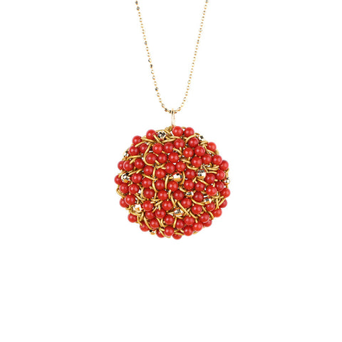 DISC.pendant: 14k.coral:  Medium