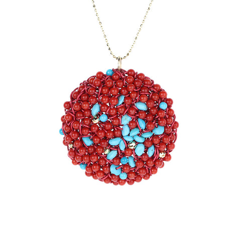 DISC.pendant: 14k.coral.turquoise