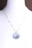 """SEED plantings"" DISC.necklace:  SILVERY.BLUE.silver"