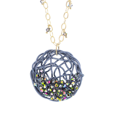 """SEED plantings""  DISC.necklace:  GRAY.multi-color"