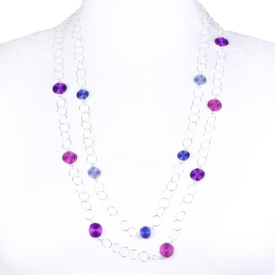 SPIRAL.necklaces:  DOUBLE-sided:  PURPLE/pinks