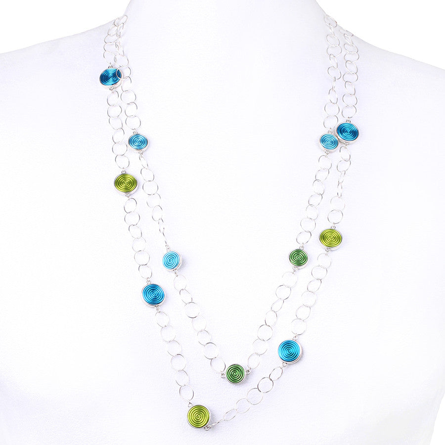 SPIRAL.necklaces:  DOUBLE-sided:  BLUE/GREENS