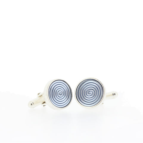 SPIRAL.cufflinks:     NEW silvery blue!