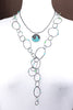 "ORBIT.chain.SS MIXED.loop with BLUE green stones 31""  adjustable"